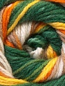 This is another self-striping yarn. The difference of this type is it has both self-patterni and spots between the stripes. Fiber Content 100% Baby Acrylic, Yellow, Orange, Brand ICE, Green, Cream, Brown, Yarn Thickness 2 Fine  Sport, Baby, fnt2-21920